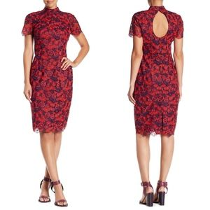 TRINA TURK Flashy Floral Lace Mock Neck Midi DRESS
